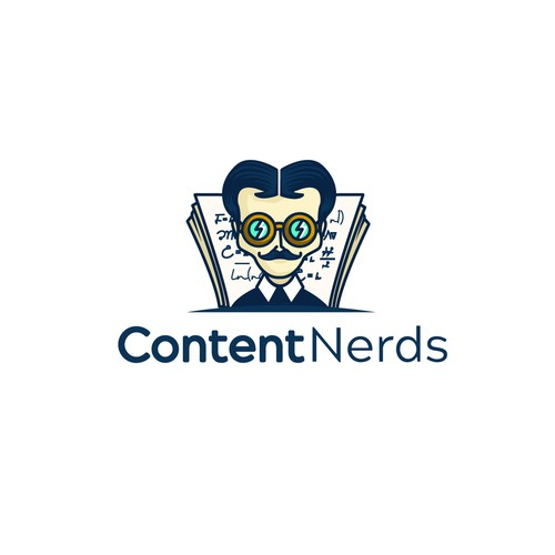 Logo for a content marketing company with a playful, nerdy flair