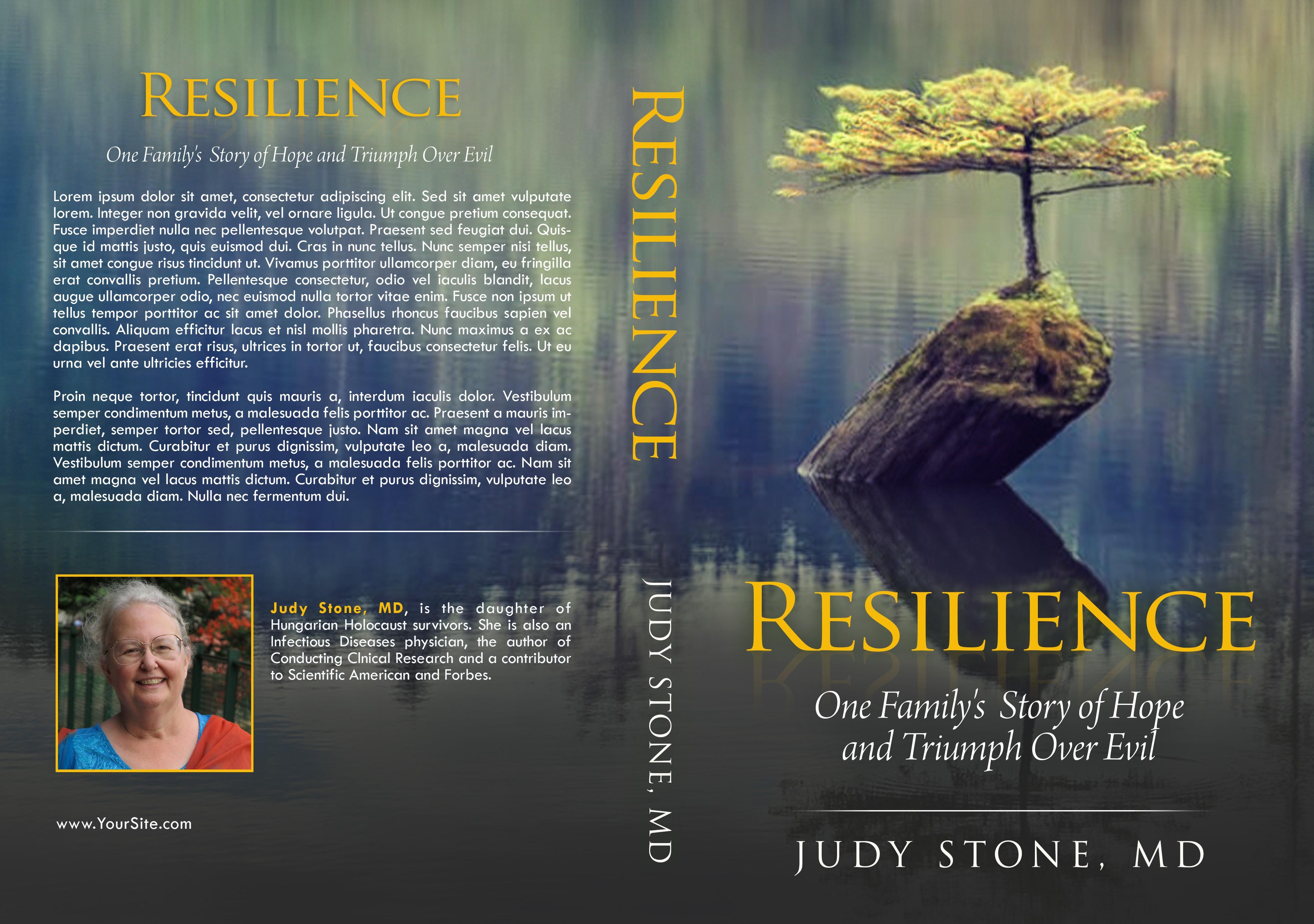 Design a hopeful/optimistic book cover for a Holocaust survivor memoir/biography