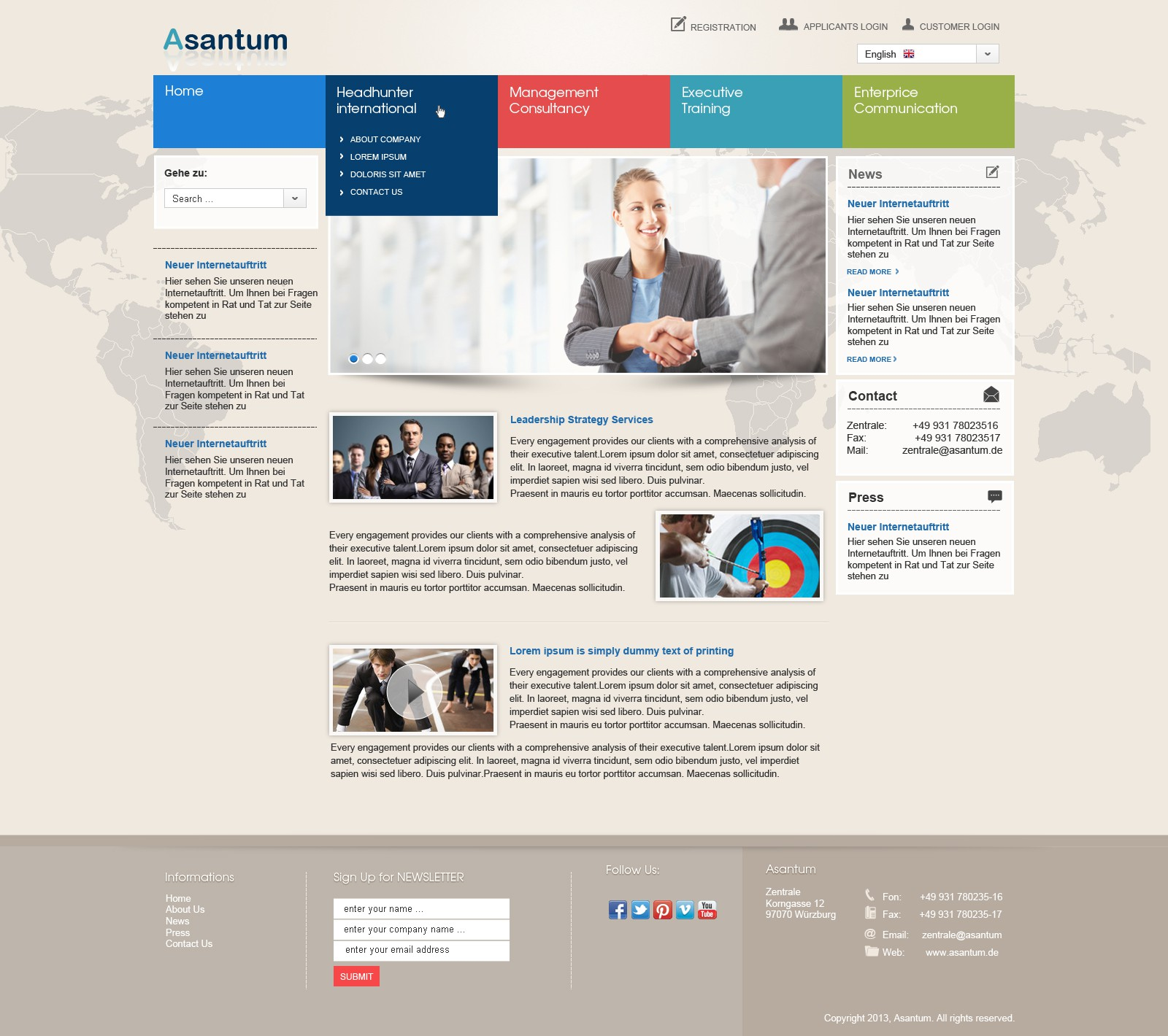 Website design Asantum Headhunter International & Unternehmensberatung