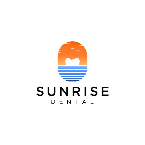 Dental office logo that stands out from everyone else. Classy and clean and confident.SUNRISE DENTAL