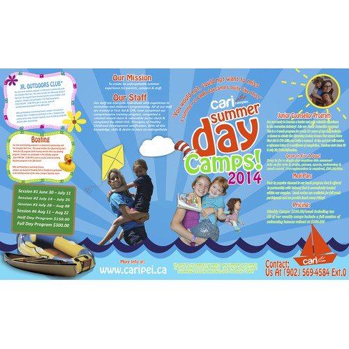 Create a Fun Dr.Seuss themed daycamp brochure for the CARI Complex