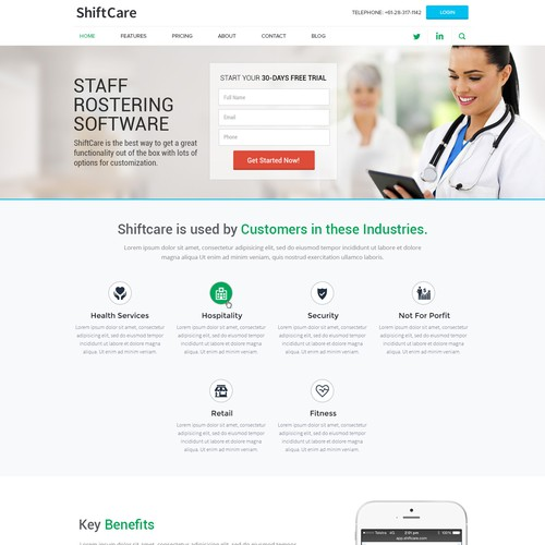 Web design for ShiftCare