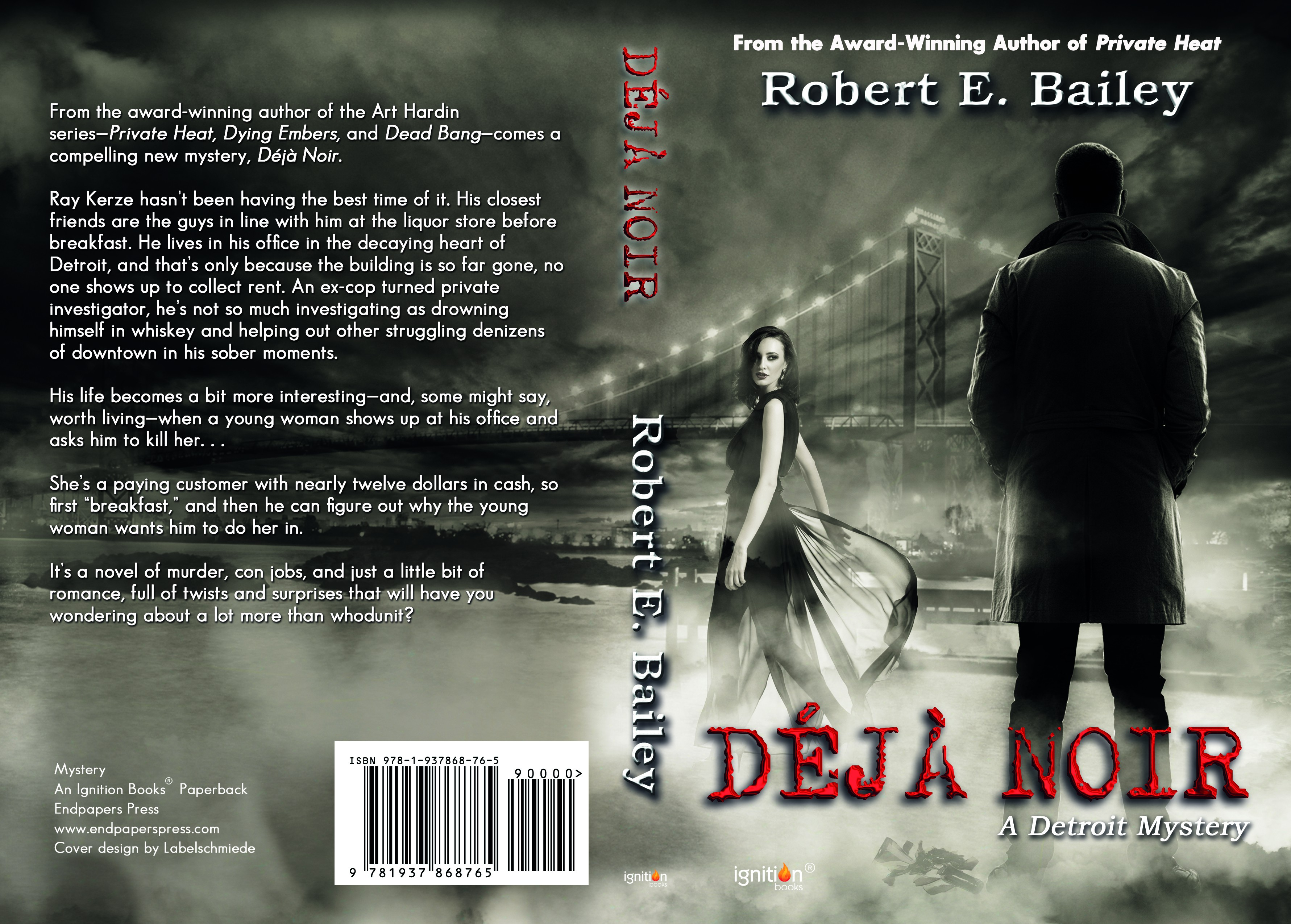 Create a cover for an award-winning mystery author!