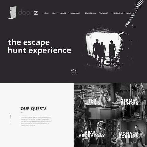 Website for Escape the Room Game Quest