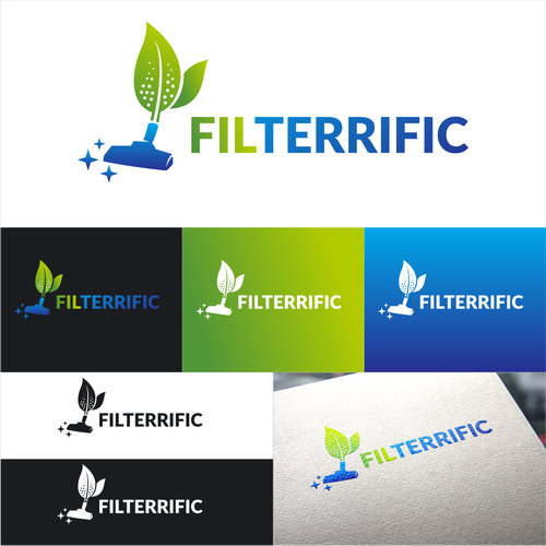 """Clean and fresh looking logo for """"Filterrific"""" vacuum cleaner filters"""