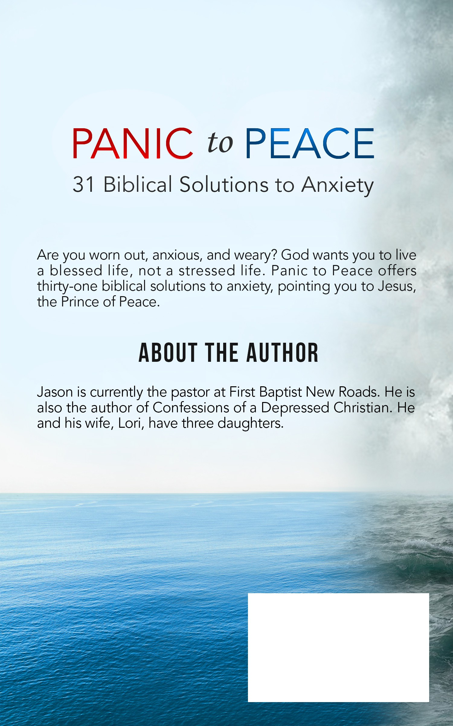 Design a book cover for a christian book on anxiety