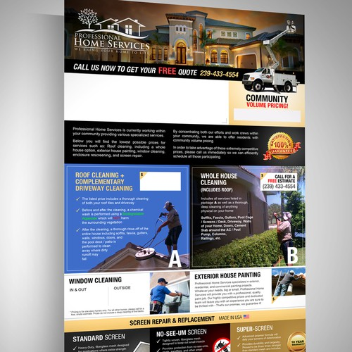 Create a NEW FRESH 1 Sided Flyer for Professional Home Services