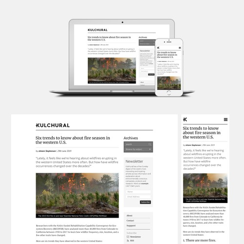 Kulchural - The website/blog will provide information and explanation about environmentally conscious companies, products and research.