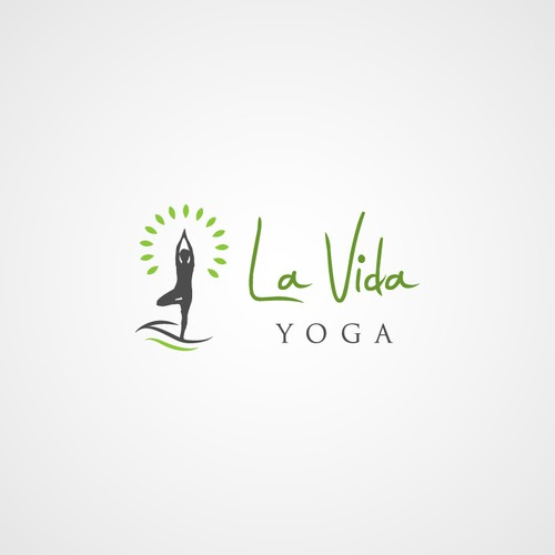 Cheerful and light logo design for La Vida Yoga