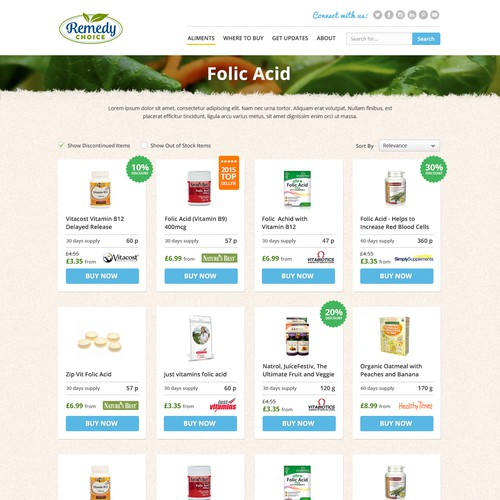 Products listing page design for Remedy