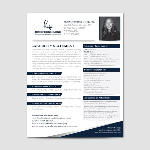 Capability Statement For Hurst Consulting