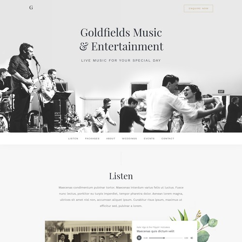 Elegant website for Goldfields Music & Entertainment
