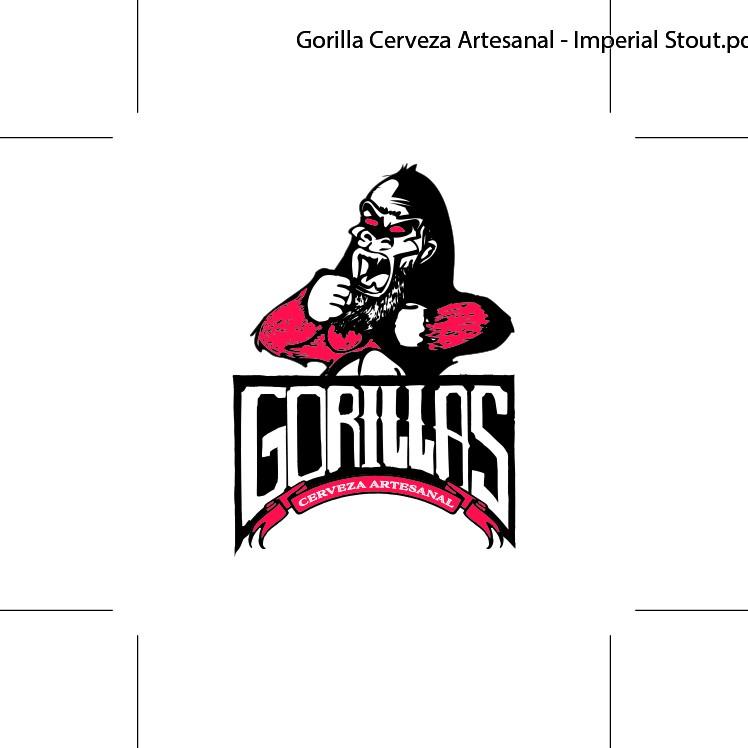 New label for GORILLAS Cerveza Artesanal, best Imperial Stout beer.
