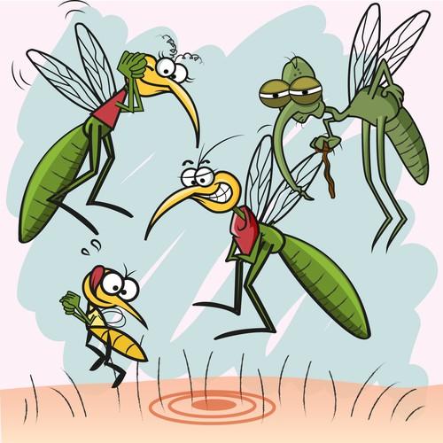 Cartoon mosquito family