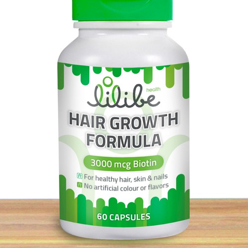 Create a label for a vitamin bottle for healthy hair, nails and skin