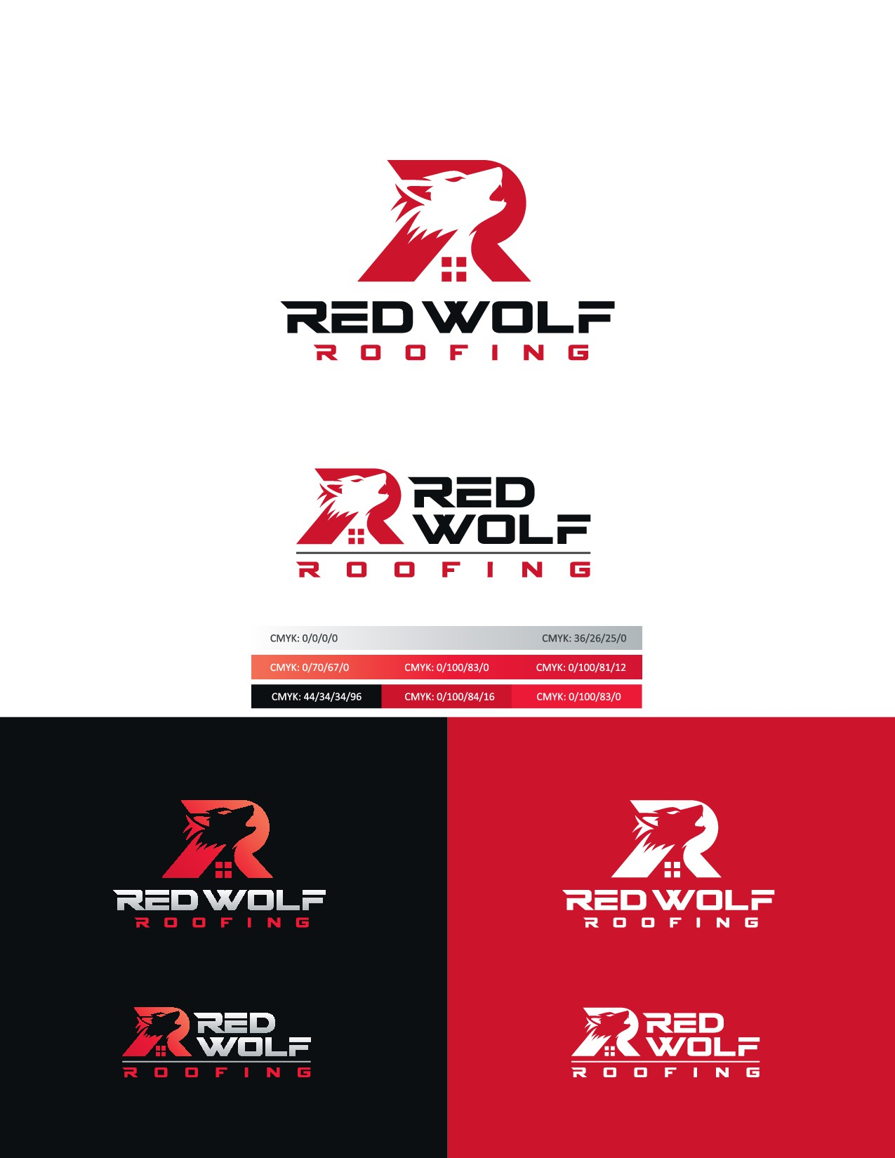 Eye Catching Design for Red Wolf Roofing company
