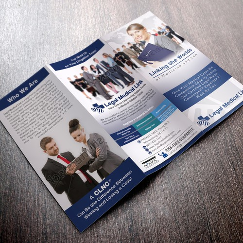 Design a sleek, professional brochure for Legal Medical Link which readers keep on their desk rather than throw away.