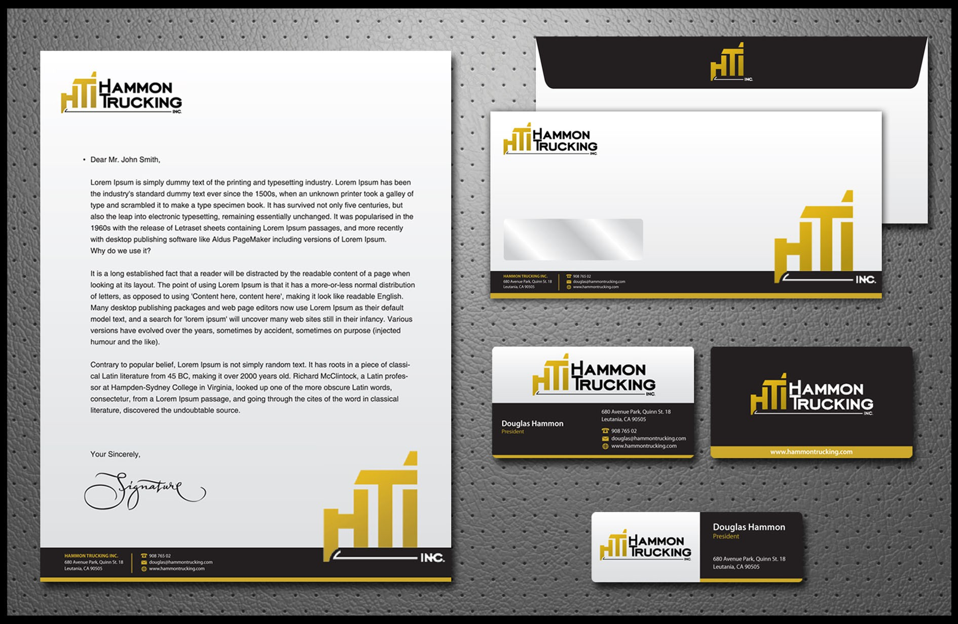 stationery for Hammon Trucking Inc