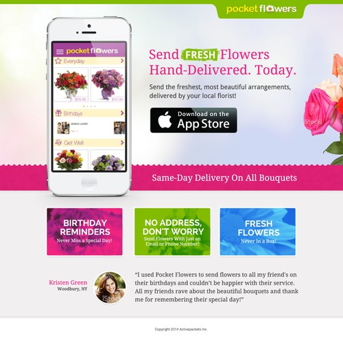 Build the most beautiful landing page for a mobile floral app