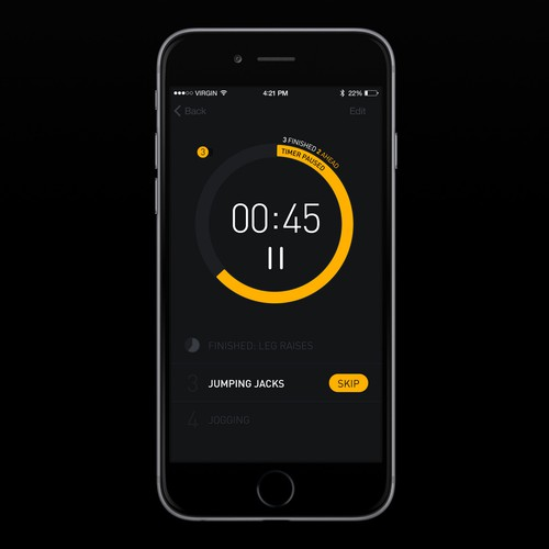 Create modern, flat UI design for timer app
