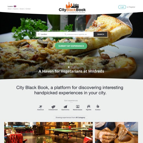 Design for CityBlackBook helping find alternative things to do around a city