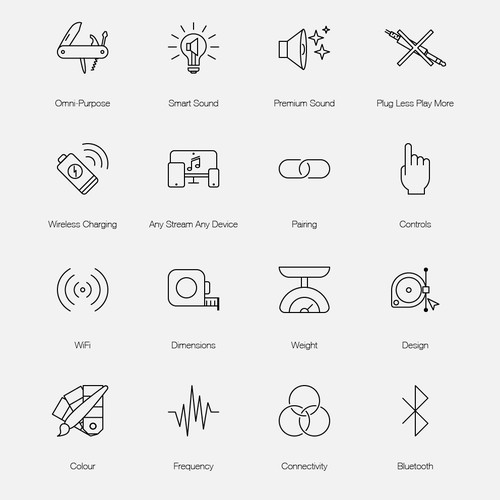 Line icons for Kien's website