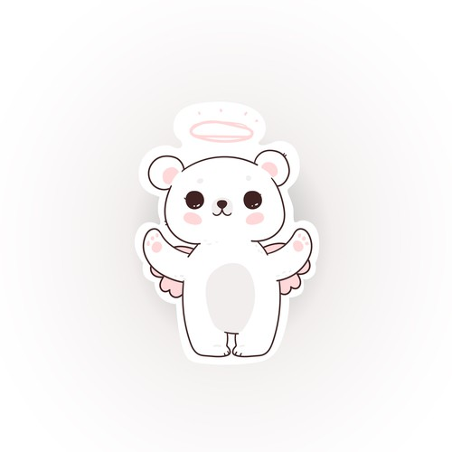 Angel Bear Hair Gummy 2D design