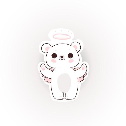 Angel Bear Hair Gummy 2D design