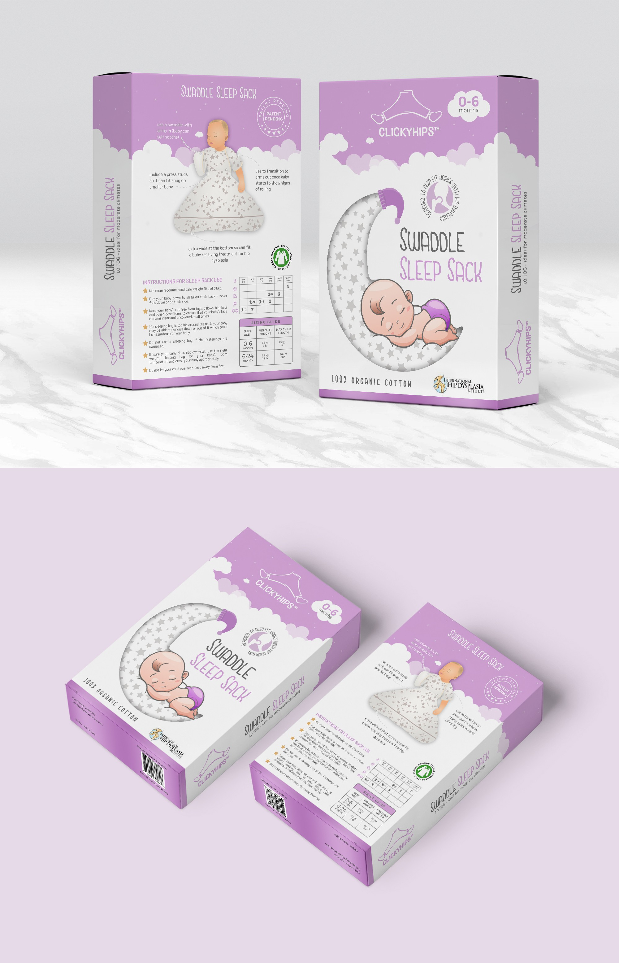 Package to be designed for Swaddle sleep sack