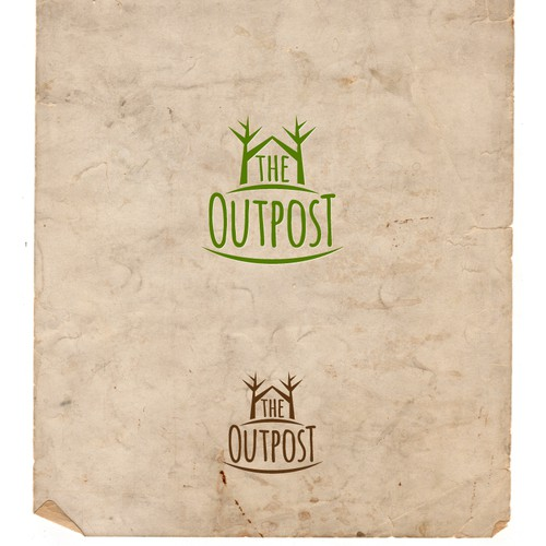 logo for The Outpost, a rustic, woodsy, log cabin LOGO