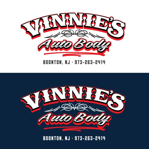 Retro-inspired logo for a New Jersey body shop