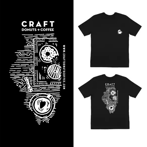 T-shirt design for Donuts and Coffee