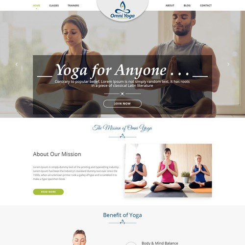 Homepage design for Omni Yoga