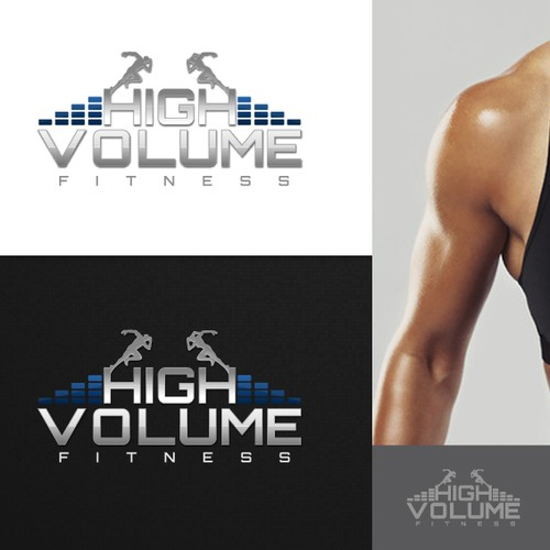 Create a modern logo for the gym of the future High Volume Fitness