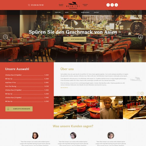 Website design for Asia Restaurant