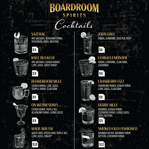 Boardroom spirits cocktails