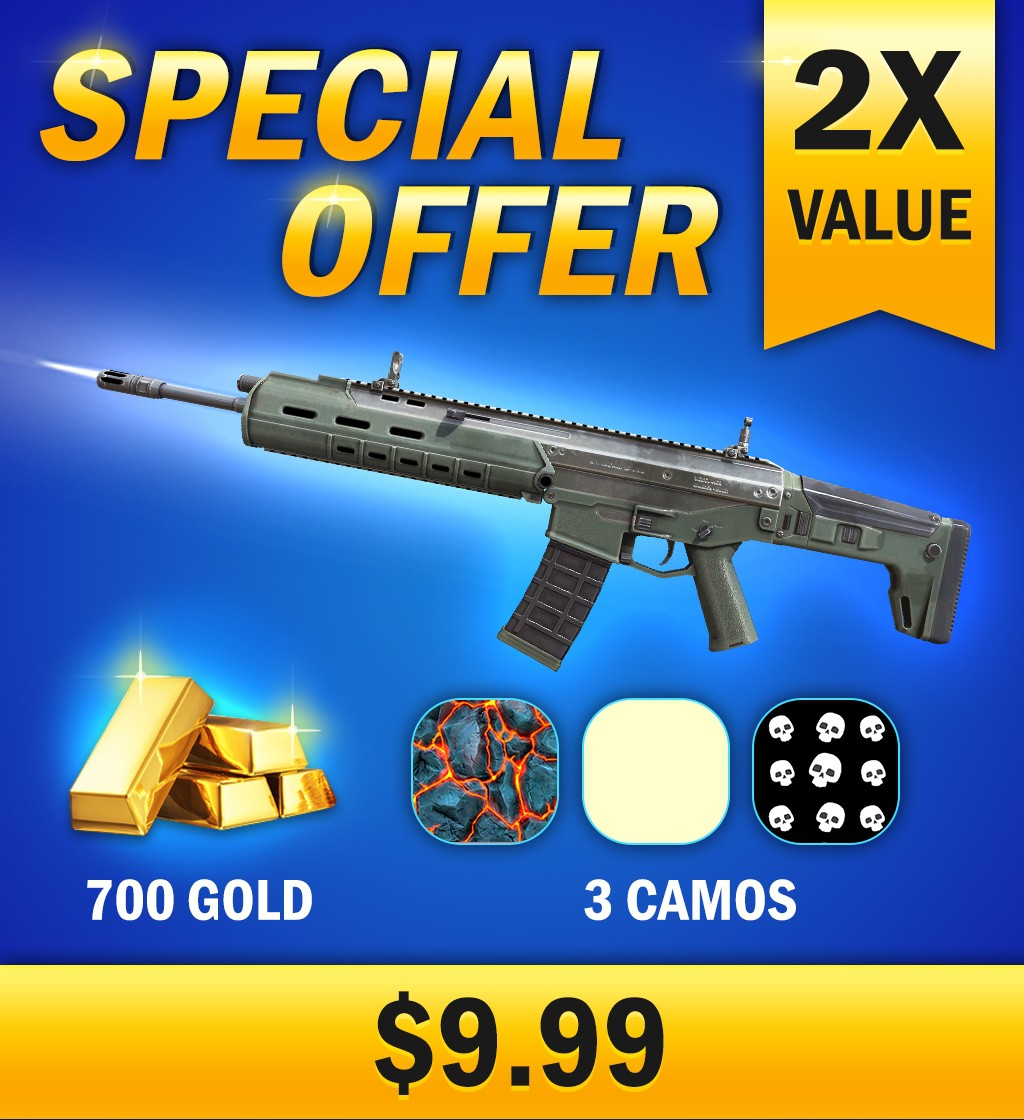 """Design an enticing """"Special Offer"""" advertisement for a top mobile first-person shooter"""