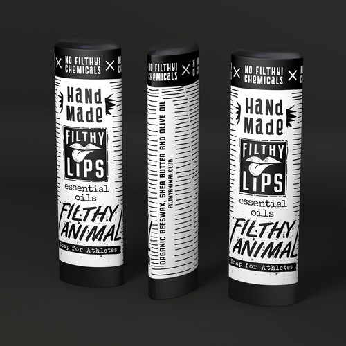 Crazy design for chapstick. Almost everything is drawn by hand. Bright, bold, contrasting!