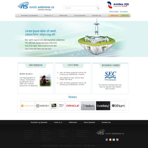 website design for Nordic Solutions AS