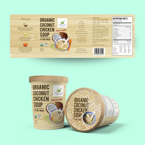 label for soup moment packaging