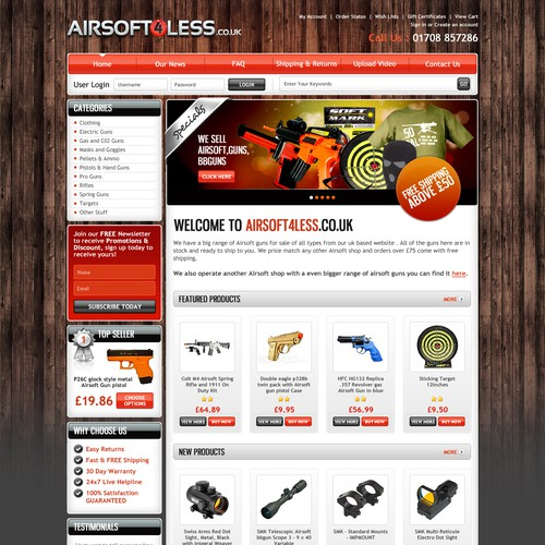 website design for Airsoft4less.co.uk