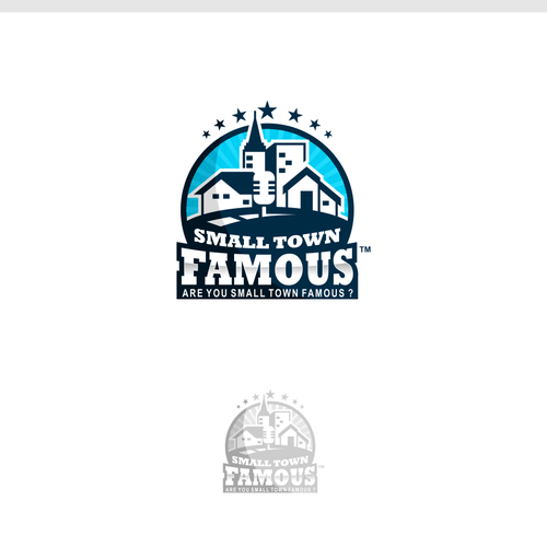 Bold logo emblem for small town famous
