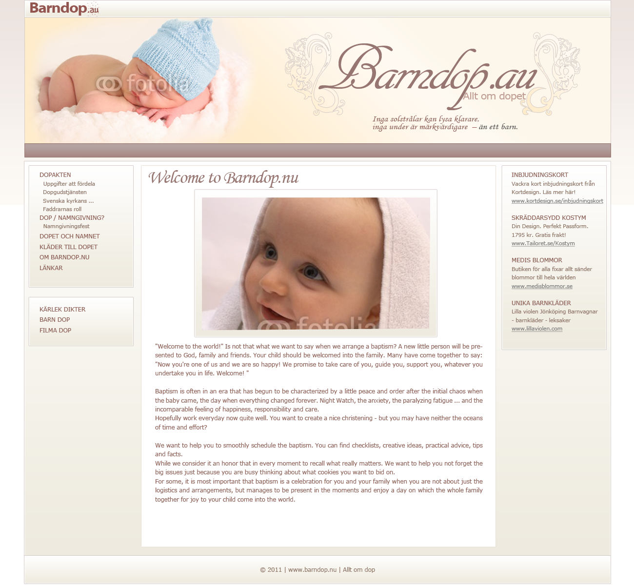 Need a new design for our website on child-christening