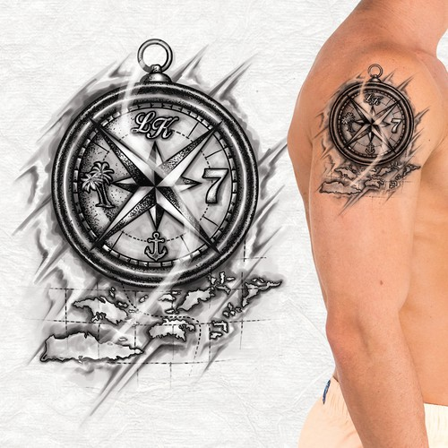 Compass tattoo with four elements.
