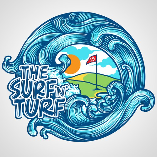 Create the next art or illustration for The Surf 'N' Turf
