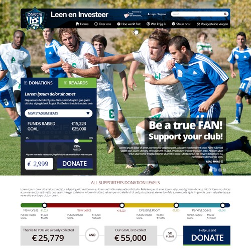 Website design for a new sports crowdfunding platform *GUARANTEED*