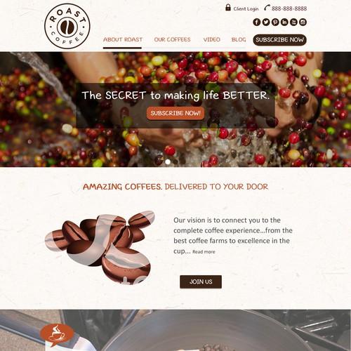 """Design website for new global coffee company """"Roast.com"""""""