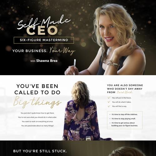 Design a luxury woman's business coaching website
