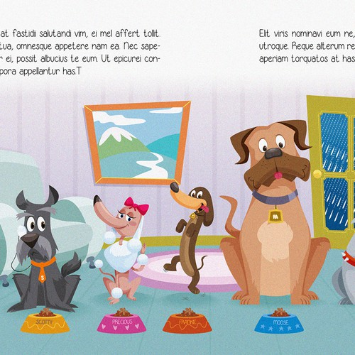 Children's book illustrations with playful dogs that have BIG personalities