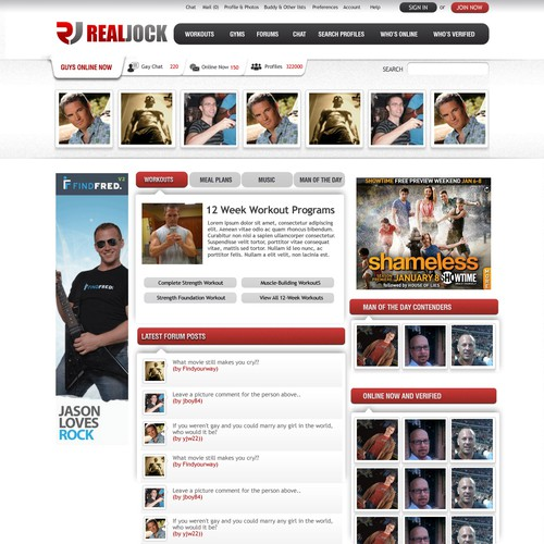 Create the next homepage design for RealJock.com's million monthly visitors